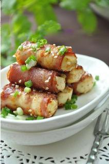 Thịt xông khói cuộn đậu hũ