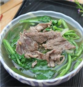 Canh cải xoong nấu thịt bò