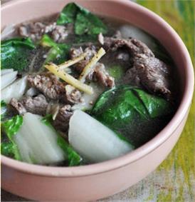 Canh rau cải thịt bò