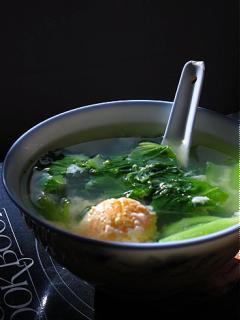 Canh cải xanh trứng muối