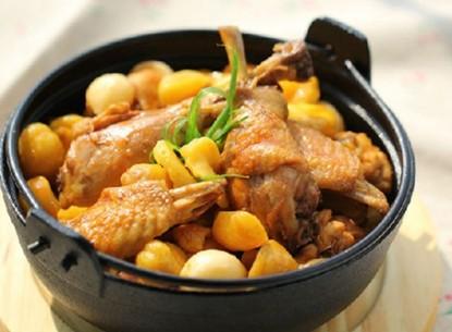 Thịt gà kho hạt dẻ