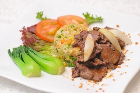 Cơm rau củ thịt đà điểu