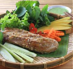 Lườn cá ngừ nướng lá chuối