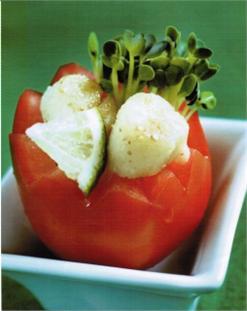 Cà nhồi rau mầm sò điệp