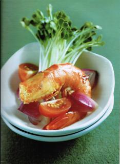 Salad rau mầm tôm nướng