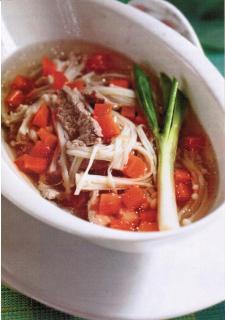 Canh nấm cà rốt nấu thịt bò